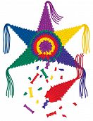 image of pinata  - A colorful broken 6 point star pinata with candy falling out and confetti - JPG