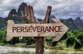 Perseverance wooden sign with a forest background