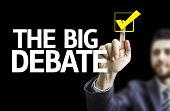 stock photo of debate  - Business man pointing to black board with text - JPG