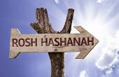 Rosh Hashanah sign with sky background