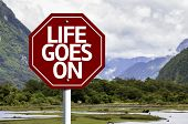 Life Goes On wooden sign with a landscape background