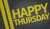 Happy Thursday written on the road