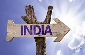 India wooden sign on a beautiful day