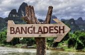 Bangladesh wooden sign with agricultural background