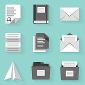 Flat icon set. Paper . White style
