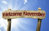Welcome November wooden sign on a beautiful day