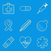 Blueprint icon set. Medical