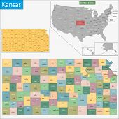 Map of Kansas state designed in illustration with the counties and the county seats