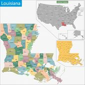 Map of Louisiana state designed in illustration with the counties and the county seats