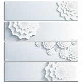 Постер, плакат: Set Of Grey Banner With 3D Flower Chrysanthemum