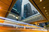 Car light in the modern city night, Hong Kong, Asia.