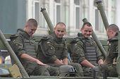 KIEV, UKRAINE - AUG 24, 2014.Ukrainian troops during President Poroshenko Victory parade in downtown. August 24, 2014 Kiev, Ukraine