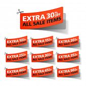 Extra Sale coupons. Vector.