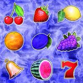 Slot Machine Fruits Relief Painting On Generated Marble Texture
