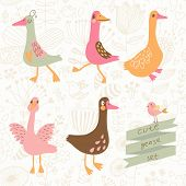 Cute geese in vector set. Cartoon geese in childish style. Funny birds of floral wallpaper in vector