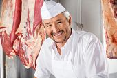 picture of slaughterhouse  - Portrait of confident mature butcher smiling in slaughterhouse - JPG