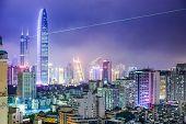 Shenzhen, China city skyline at night.