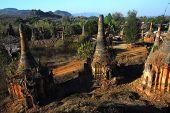 Crazy Pagodas Of Shwe Inn Taing Paya Near Inle Lake,Shan State, Myanmar.