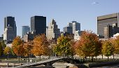 Montreal, Quebec, Canada, skyline on a beautiful Fall day,view from the Old Port