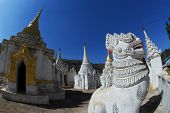 White Lion Guardians In Temple Of Pindaya City,Myanmar.