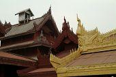 Wood Art Roof In Mandalay Palace,Myanmar.