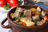 Beef Stew With Vegetables In A Pot Horizontal.