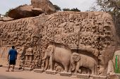 image of arjuna  - One of the ancient architectural wonders of the Pallava kings in south India - JPG