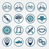 picture of bicycle gear  - Vector biking icon set flat bicycle symbols - JPG
