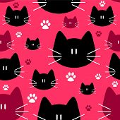 Cute Seamless Pattern With Cat Faces