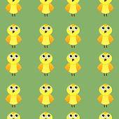Seamless pattern of yellow cartoon Chicks