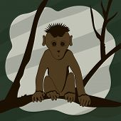 Cartoon monkey sitting on a tree branch and looking right