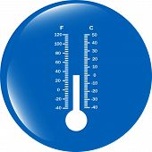 Thermometer Web Icon Button Isolated On White Background