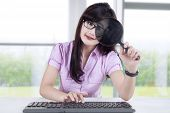Businesswoman Observing A Computer