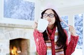 Girl Wearing Sweater Drinking Hot Coffee