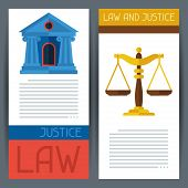 Law and justice horizontal banners in flat design style.
