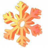 Three-dimensional gold festive snowflake isolated.Vector illustration