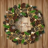 Card With Wreath Of Fir Cones, Branches And Beads