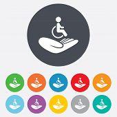 Disabled human insurance sign. Wheelchair man.