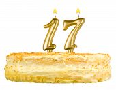 Birthday Cake Candles Number Seventeen Isolated