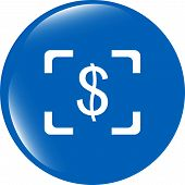 Currency Exchange Sign Icon. Currency Converter Symbol. Money Label. Shiny Button. Modern Ui Website