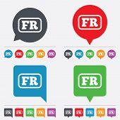 Vector French language sign icon. FR translation.