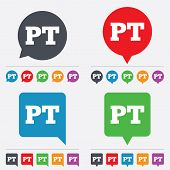 Portuguese language sign icon. PT translation