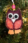 knitted owl decoration on christmas tree