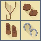set of horse gear in flat style