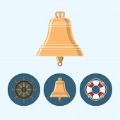 Set Icons With   Colored Bell, Lifebuoy , Ship Wheel, Vector Illustration