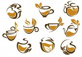Set of herbal tea icons