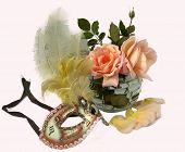 Carnival venetian mask and rose.