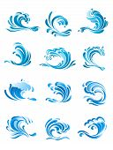 Curling blue waves set