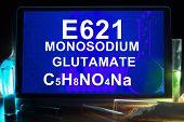 picture of formulas  - Tablet with chemical formula of  e621 monosodium glutamate   - JPG