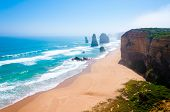 stock photo of 12 apostles  - The Twelve Apostles a famous collection of limestone stacks off the shore of the Port Campbell National Park by the Great Ocean Road in Victoria Australia - JPG